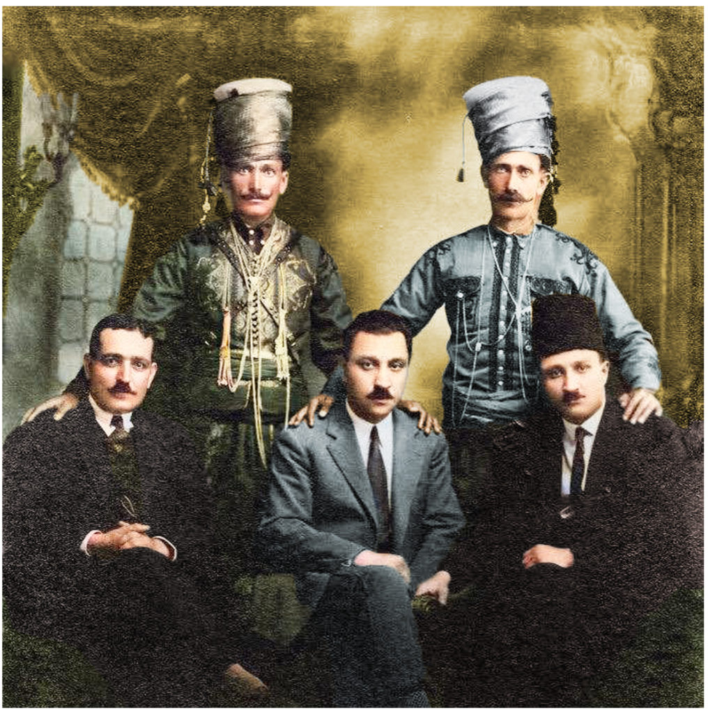 Memduh Selim & Bedirxan Brothers with the Legandary Kurd Yado (Yadin Mahmûd Abas - left side in folkloric dress) and Sadiye Talha