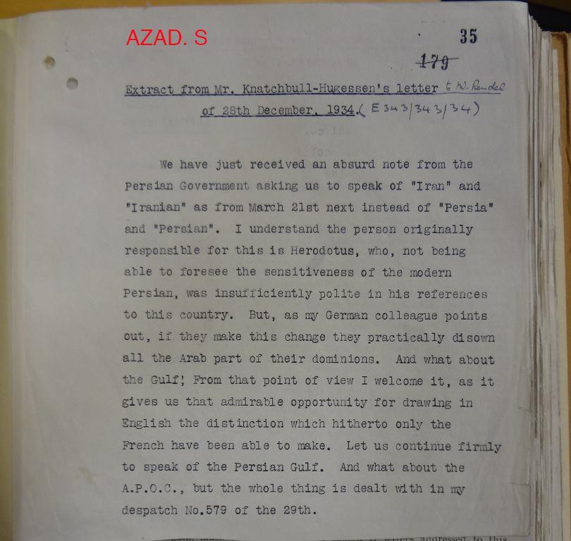 نامەی باڵوێزی بریتانیا لە ئێران بۆ حکوومەتی وڵاتەکەی سەبارەت بە گۆڕینی ناوی پێرشیا بۆ ئێران- ٢٨ی دێسامبەری ١٩٣٤